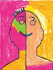 Art Projects for Kids: Wild Side/Calm Side Self Portraits