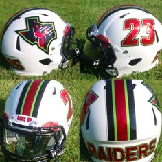 Here's a great look at the new football helmet decal designs for the 9U Frisco Raiders youth football team.  The decals display our Red Chrome, Lime Green Chrome and Silver Chrome special effect decal colors in a side decal, helmet stripe and die cut numbers.  Good luck to the 9U Frisco Raiders football team this season!  Look great, play great!  #ChromeFootballHelmetDecals #ChromeFootballDecals #ChromeDecals #FootballHelmetDecals #FootballDecals #HelmetDecals #UniSwag #HealyAwards