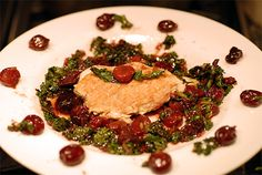Chicken with Cherries and Kale on http://www.elanaspantry.com