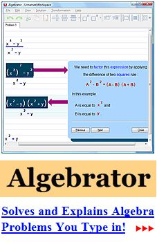 Algebra Help.  Plug in an equation it will tell you how to figure out the answer. Could be a life saver for students and parents
