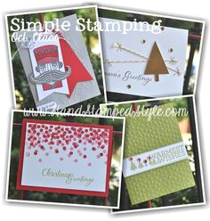 Classic Simple Christmas Cards created by http://www.handstampedstyle.com -using Santa Stache, Festival of Trees, Christmas Bliss and more Stampin' up! products.