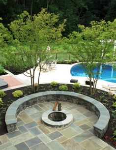 Flagstone patio with firepit