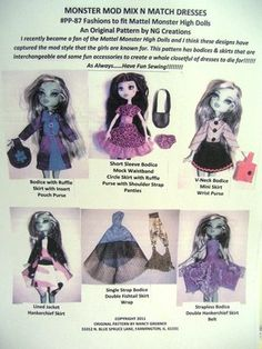 Monster High Doll Clothing Pattern Sew Outfits Mix N Match | eBay