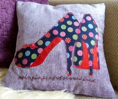 Singing In Fabulous Shoes Appliqued Cushion with by DipsyChicks, £25.00