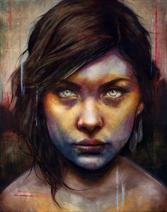 WOW! This image is haunting...Connecticut-based artist Michael Shapcott creates wonderfully colored portraits by starting with graphite underdrawings that are then painted with washes in oil and acrylic.