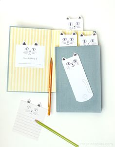 cat family bookmarks, bookplates, library cards + notecards : )