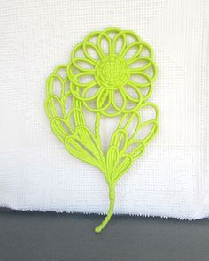Lime Green Large Wall Flower Upcycled Vintage Syroco by BeautiSHE, $14.00