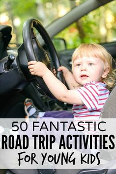 """Looking for road trip activities for kids that don't involve electronic devices, play doh, stickers, and singing, """"99 Bottles of Beer on the Wall"""" for 10 hours straight? Then this list of 50 fantastic road trip activities for kids is for you!"""