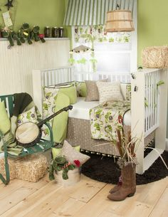 Love love looooove for baby boy bedding! Def my favorite. Green + music + nature = awesome nursery! ;0)