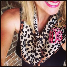 Monogrammed Scarf Leopard Print  on Etsy, $20.00. --- perfect neutral accessory! Pair with a black tank, white tee, nautical stripes, or chambray blouse and you'll never take it off :)