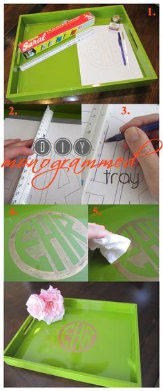DIY monogrammed tray