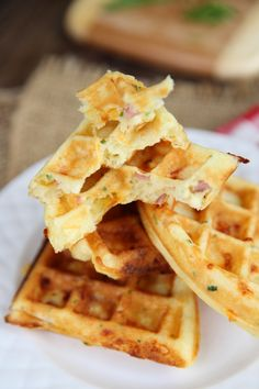 Ham and Cheddar Waffles from Our Best Bites-Everyone loves these!  Will become a regular dinner.