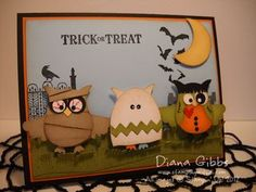 Stampin' Up! Owl Punch Art  by Diana G at Stamping With Di: Happy H'Owl-oween - check out the link for up close images punch art cards, stamp sets, owl punch, halloween cards, happi howloween, homemade cards, paper crafts, owls, happy halloween