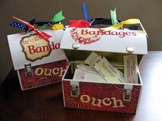 "Bandaid Box for teacher with a ginormous candy bar with a note that says ""For the Pain and Suffering My Child Might Cause You This Year. So Sorry. Band-Aid?"""