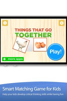 Things That Go Together ($0.00) created using 200+ gorgeous pictures that are sure to keep kids interested and engaged. In this application, children will be presented with one or eight pairs of items and they have to figure out which items go together. The best way to play this game with a child is to sit down with them and have them explain to you the reason / thinking of why two items should go together.