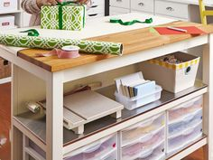 Use a Kitchen Island as a Crafts Table The 50-inch-by-31-inch IKEA island has two shelves for storage. To protect the wood top, Regina keep...