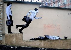 Fun Site Specific Wheatpastes on the Streets of France by Lavalet wheatpaste #streetart