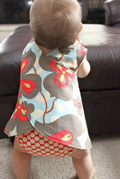 Little Girl's Crossover Pinafore Pattern & Tutorial.