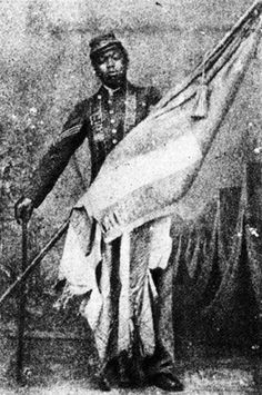 """Sergeant William Harvey Carney ~ 29 Feb 1840-8 Dec 1908 was the first African American to be awarded the Congressional Medal of Honor. He rescued the US Flag as its' bearer fell & then carried it to the enemy ramparts & back after which he declared: """"Boys, the old flag never touched the ground!"""""""