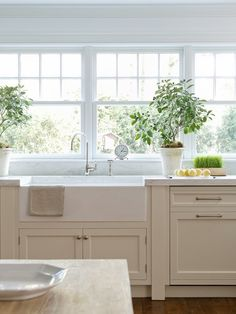 Gorgeous white kitchen with lots of windows and farmhouse sink