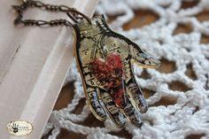 craft, heart, hands, shrink plastic, hand pendant, shrink art, cherries, shrinki dink, design