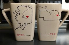 Long distance mugs for family or friends! I know just who to give one to...