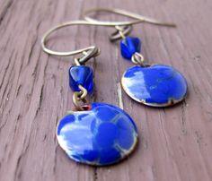 Blue Enamel Earrings Enamel Earrings Blue by TinyYellowKeyDesigns