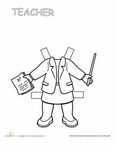 Worksheets: Teacher Paper Doll 1
