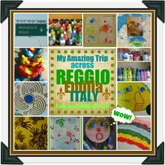 Collage of Reggio Emilia Photographs taken during field trip visiting Italian Early Childhood Centers (series of 18 articles filled with images)