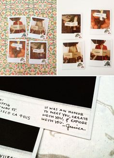 Creative way to send a holiday gift card - use an old Polaroid, add your note in the photo, address and send!
