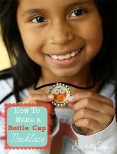 DIY Bottle Cap necklace! Great summer kids craft! www.skiptomylou.org #crafts #bottlecapnecklace