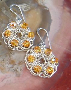 topaz crystal, sale chainmaill, fashion earrings, swarvoski crystal, chain mail, swarvoski topaz, jewelri idea, beaded earrings, chainmaill parallel
