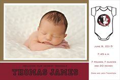 Florida State University Photo Baby Announcements