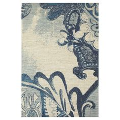 Jute rug in blue with a floral motif and scrolling garland accents. 4x6 $87/5 x 8 $138 Product: RugConstruction Material: Jute