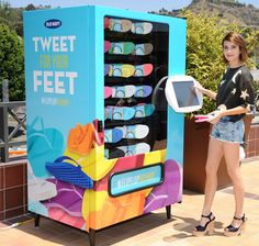 Heading to the beach anytime soon? To build excitement for their much-anticipated $1 flip-flop sale on June 28, Old Navy is installing creating custom vending machines that dispense flip-flops using social currency (i.e. a tweet) around Los Angeles and New York City. For three days only (June 24 to 26), the vending machines will be dropped at various locations around the two cities loaded with a rainbow array of Old Navy flip-flops.