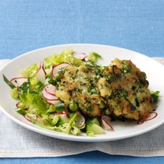 Chopped Salad with Couscous Fritters from WomansDay.com #grains #vegetables #fruits #myplate