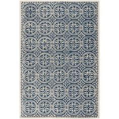 Handmade Cambridge Moroccan Navy Blue Wool Rug