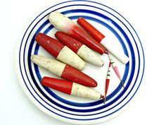 Wooden Vintage Fishing Bobbers and Floats by EitherOrFinds on Etsy, $22.00