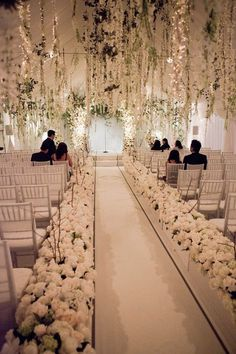 All white wedding. Hanging flowers. Wedding decor