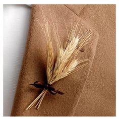 Fall Harvest Wedding - Groom Boutonniere  love it - sweet & simple    groomsmen, preachers
