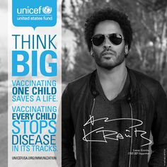 """We're ready to go that extra mile to fight preventable diseases in children…with your help."" - UNICEF supporter Lenny Kravitz #vaccineswork"