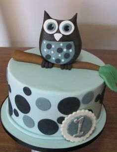 Boy first birthday owl  By Dericious on CakeCentral.com