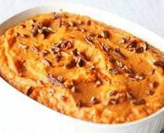 Sweet Potato Casserole:  You can avoid traditional sweet potato recipes that are closer to dessert than to a side dish. This wonderful recipe will remind you of when you were young, but keep your blood sugars in check.