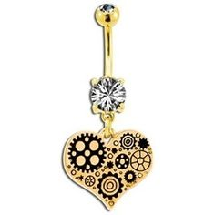 Steunk gold geared heart belly button ring