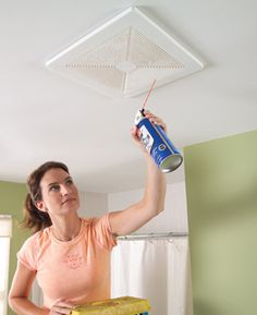 Cleaning bathroom exhaust fan:    Use a blast of canned air to quickly clean dust from the wall and ceiling grilles of vent fans and heating/air conditioning systems.