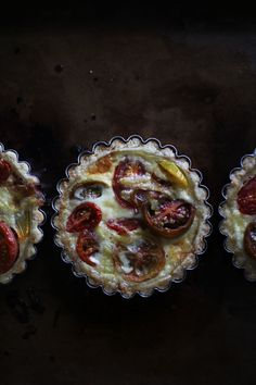 mini heirloom tomato tartlets with a parmesan crust