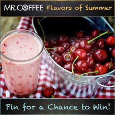 Is Cherries Jubilee your favorite flavor of frappe? You could win a Mr. Coffee® Café Frappe! Enter our Pinterest contest today -- visit us on http://on.fb.me/1qsda4s to enter. Contest ends 7/25/14. Good luck and don't forget to click the pin to see the recipe! #MrCoffee #Coffee #summer #contest #pintowin [Promotional Pin]