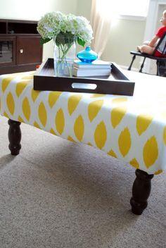 coffee tables, diy ottoman coffee table, upholst ottoman, upholster coffee table, thrift store
