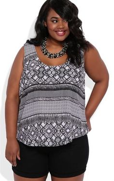 Deb Shops Plus Size High Low Tribal Print Trapeze Tank Top with Criss Cross Back