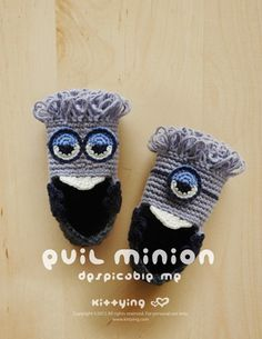 Evil Minion Despicable Me Baby Booties Crochet PATTERN by Kittying.com / www.mulu.us